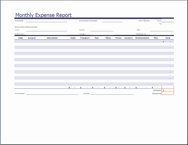 Microsoft Word Expense Report Template Unique Ms Excel Monthly Expense Report Template
