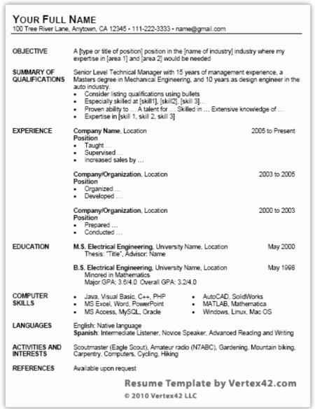 Microsoft Word Free Resume Templates Beautiful Job Search Free Resume Template for Microsoft Word