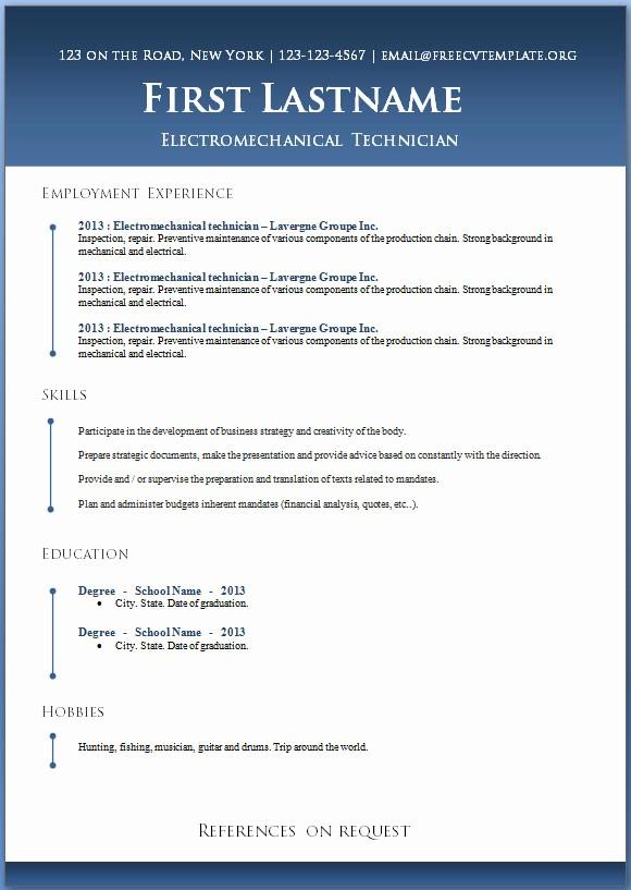 Microsoft Word Free Resume Templates New 50 Free Microsoft Word Resume Templates for Download