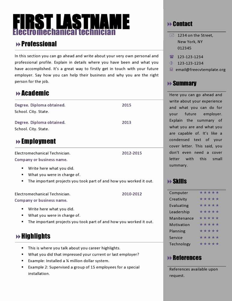 Microsoft Word Free Resume Templates New Free Curriculum Vitae Templates 466 to 472 – Free Cv