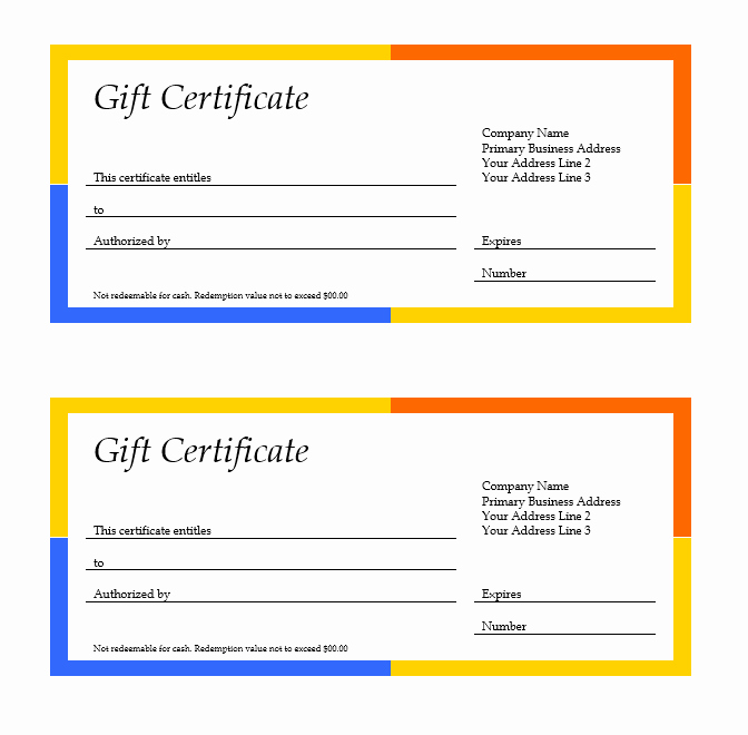 Microsoft Word Gift Card Template Best Of 11 Free Gift Certificate Templates – Microsoft Word Templates