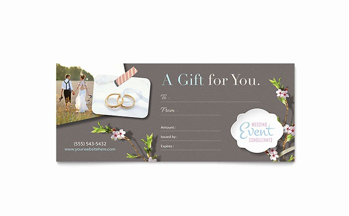 Microsoft Word Gift Card Template Best Of Wedding Planner Gift Certificate Template Word & Publisher