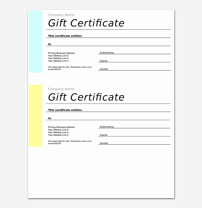 Microsoft Word Gift Card Template Lovely 44 Free Printable Gift Certificate Templates for Word & Pdf