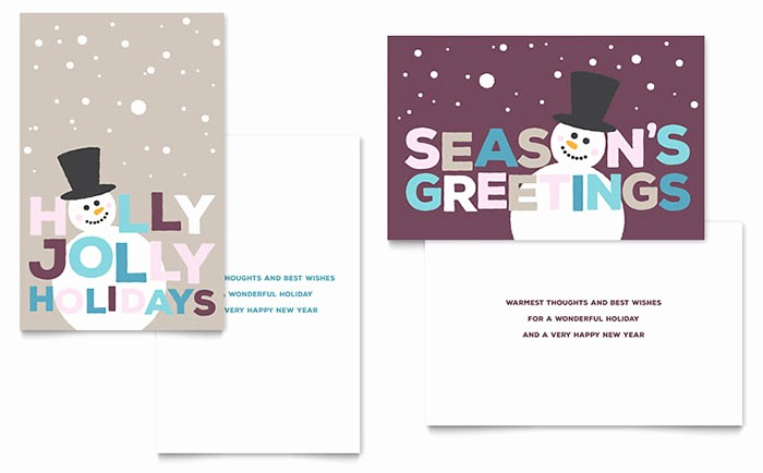 Microsoft Word Greeting Card Template Awesome Jolly Holidays Greeting Card Template Word & Publisher