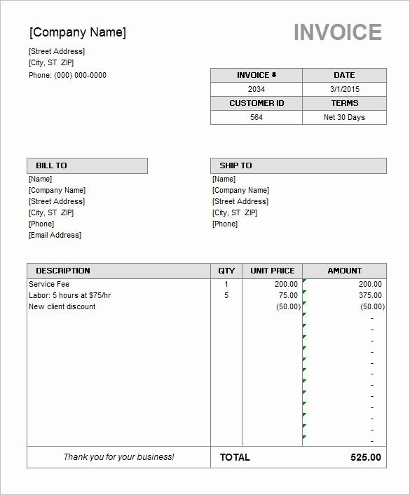 Microsoft Word Invoice Templates Free Inspirational 60 Microsoft Invoice Templates Pdf Doc Excel