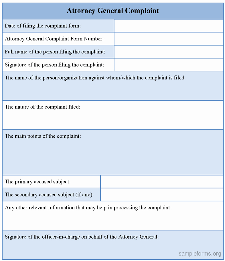 Microsoft Word Legal Complaint Template Luxury attorney General Plaint form Sample forms