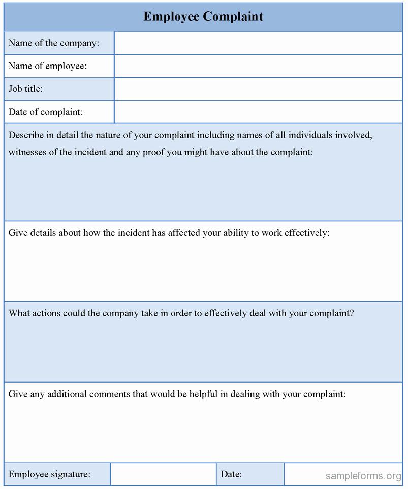 Microsoft Word Legal Complaint Template Unique Employee Plaint form Template Sample forms