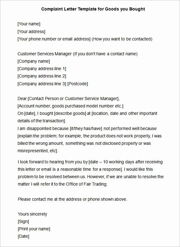 Microsoft Word Legal Complaint Template Unique Plaint Letter – 10 Free Word Pdf format Download