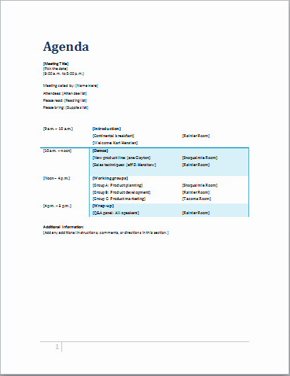 Microsoft Word Meeting Agenda Template Elegant 10 Best Of Meeting Agenda Editable Fun Business