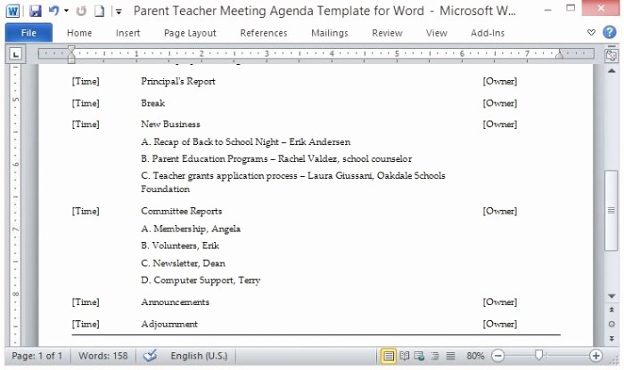 Microsoft Word Meeting Agenda Template Elegant Parent Teacher Meeting Agenda Template for Word