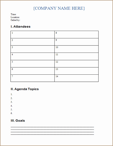 Microsoft Word Meeting Agenda Template New Business Meeting Agenda Template