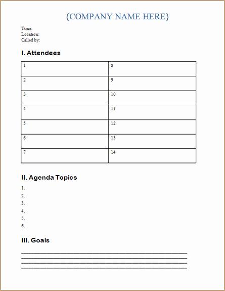 Microsoft Word Meeting Agenda Template New Business Meeting Agenda Template