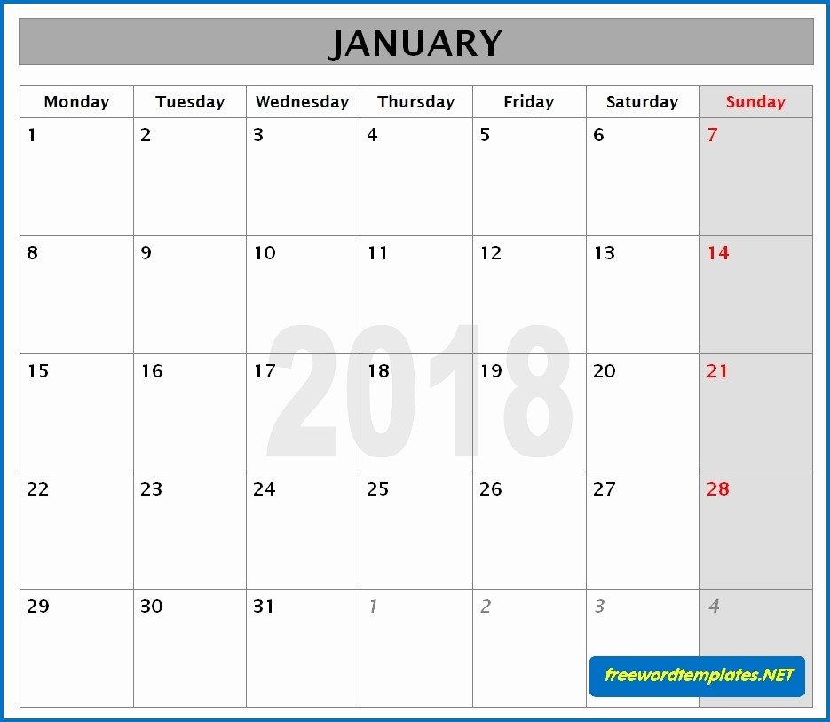 Microsoft Word Monthly Calendar Template Awesome 2018 Calendar Templates