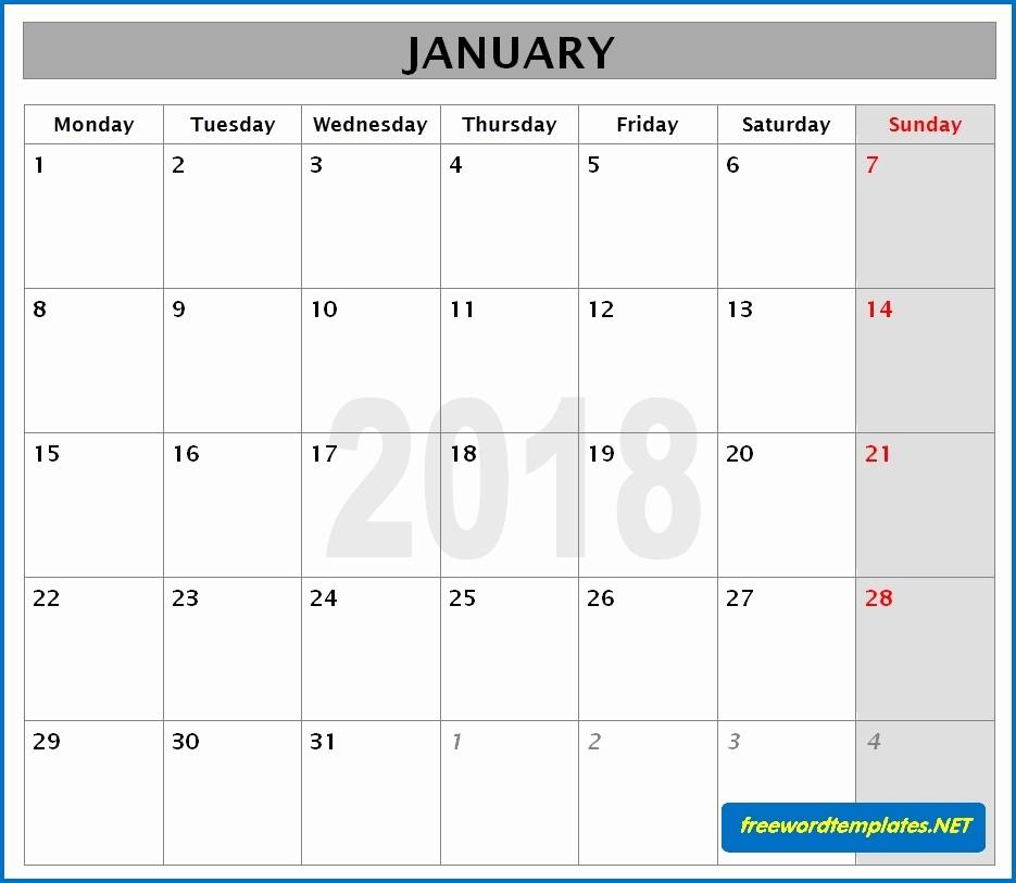 Microsoft Word Monthly Calendar Template Awesome 2018 Calendar Templates
