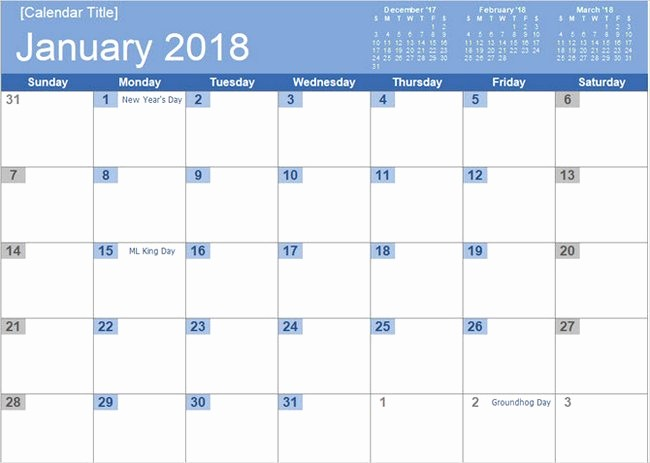Microsoft Word Monthly Calendar Template Awesome Best Free 2018 New Year Calendar for Excel Word Ms