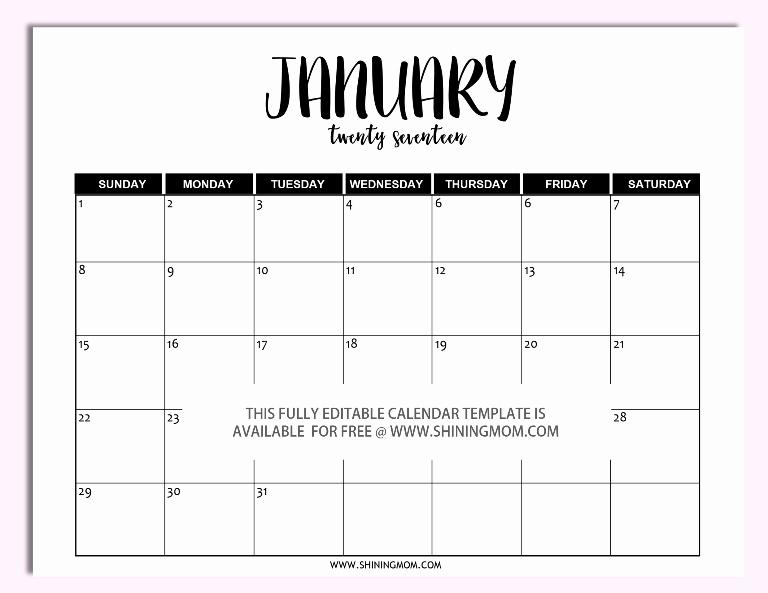 Microsoft Word Monthly Calendar Template Beautiful Free Printable Fully Editable 2017 Calendar Templates In