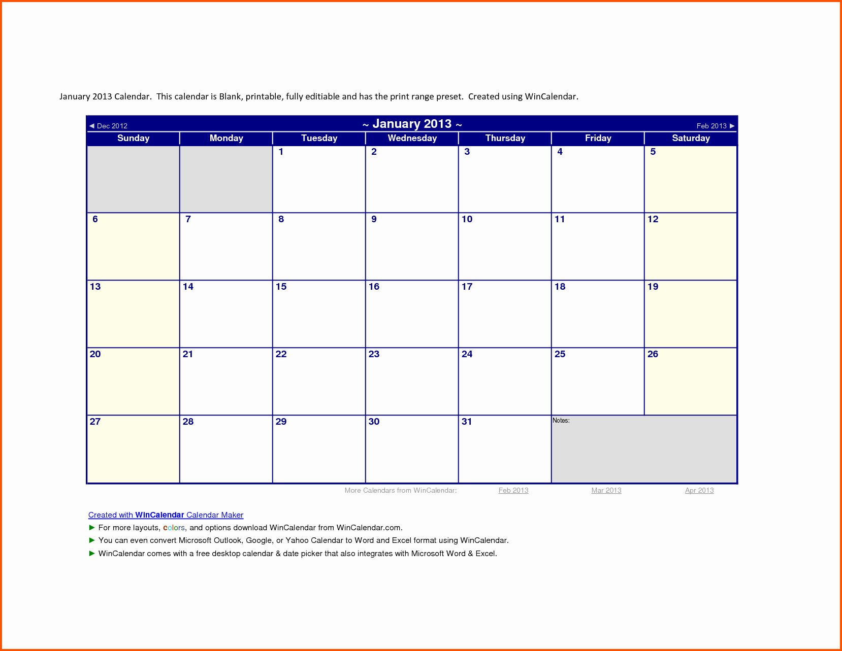Microsoft Word Monthly Calendar Template Unique 2013 Calendar Template Word