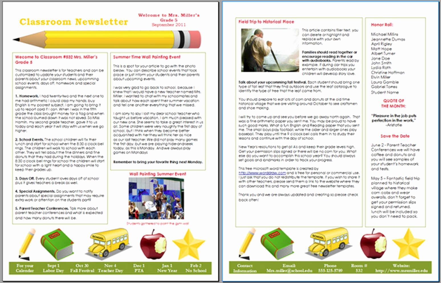 Microsoft Word Newsletter Template Free Beautiful School Newsletter Templates