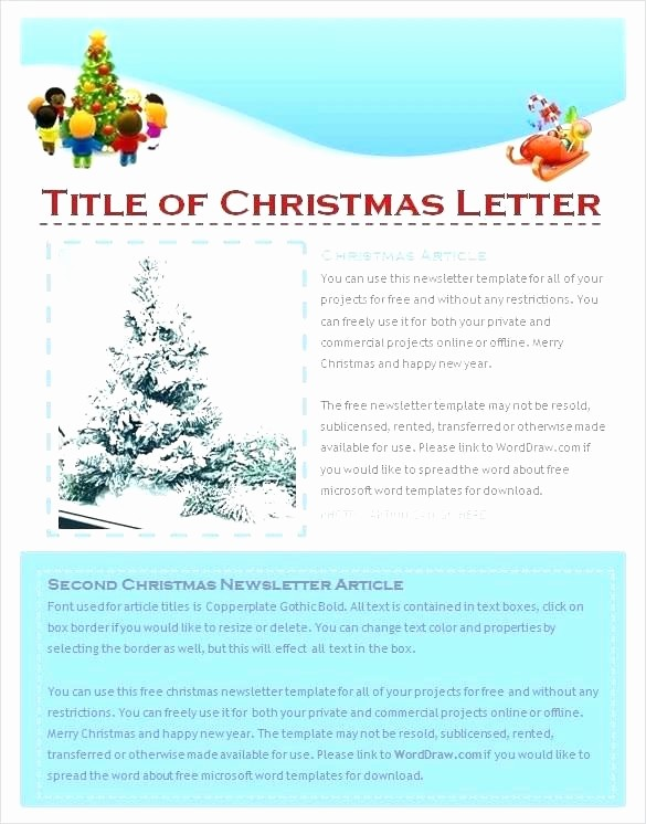 Microsoft Word Newsletter Template Free Fresh Microsoft Fice Publisher Christmas Letter Template
