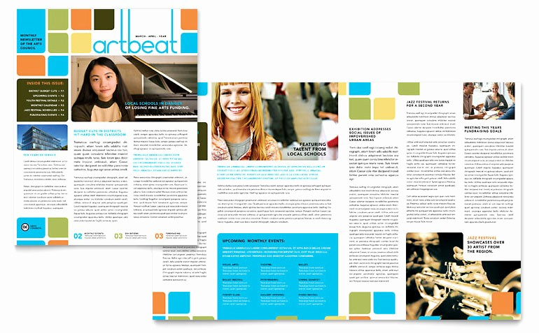Microsoft Word Newsletter Template Free Unique Arts Council & Education Newsletter Template Word