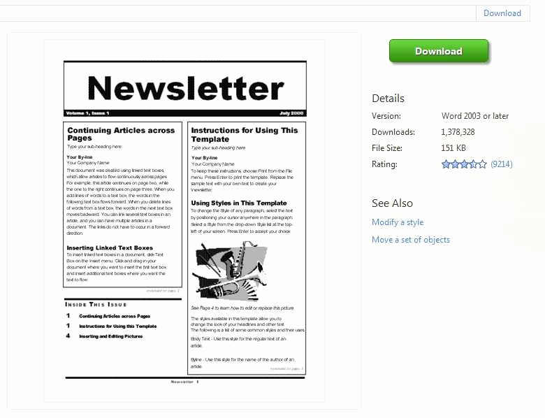 Microsoft Word Newsletter Templates Free Awesome Newsletter Templates Word