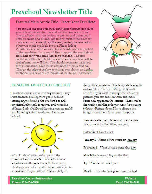 Microsoft Word Newsletter Templates Free Elegant 27 Microsoft Newsletter Templates Doc Pdf Psd Ai