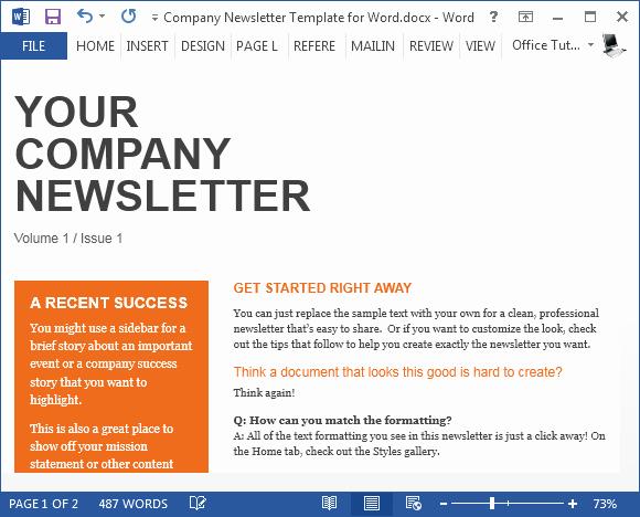 Microsoft Word Newsletter Templates Free Elegant Free Pany Newsletter Template for Word