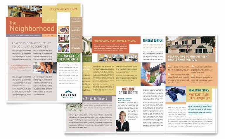 Microsoft Word Newsletter Templates Free Elegant Realtor & Real Estate Agency Newsletter Template Word