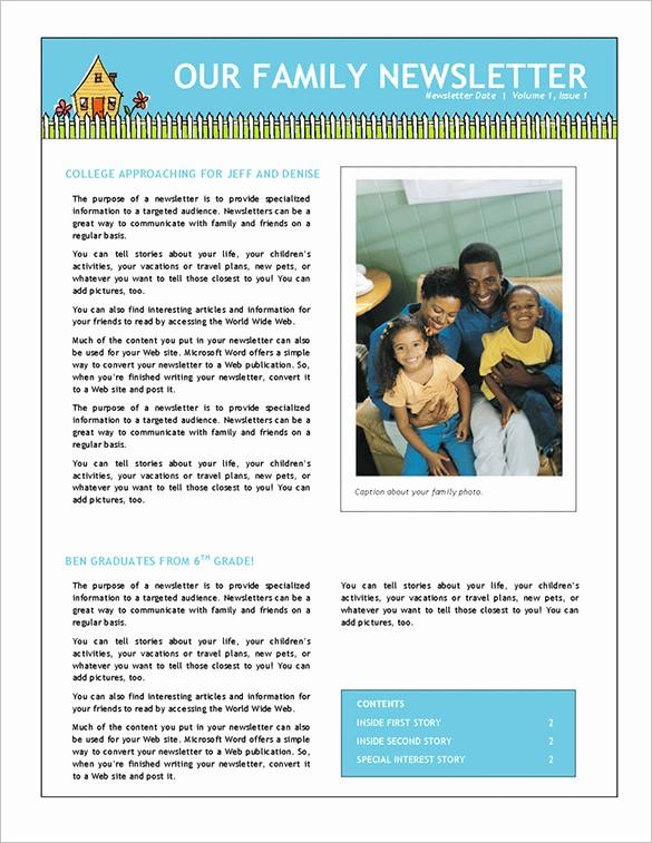 Microsoft Word Newsletter Templates Free Inspirational 7 Family Newsletter Templates – Free Word Documents