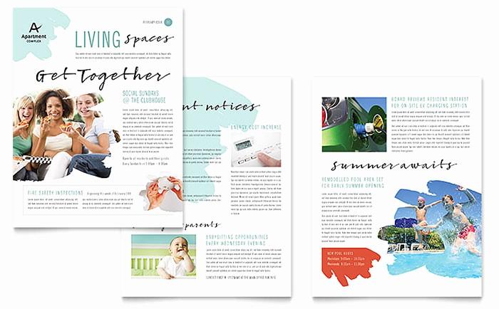 Microsoft Word Newsletter Templates Free Lovely Apartment Newsletter Template Word & Publisher