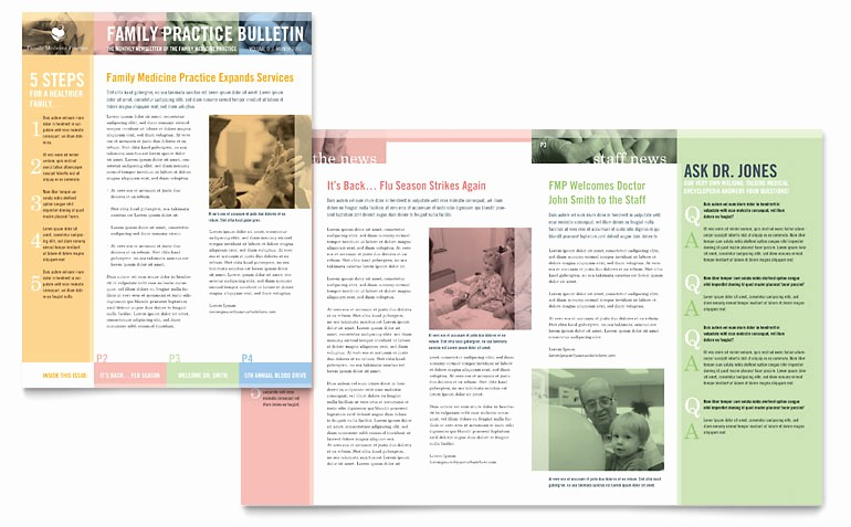 Microsoft Word Newsletter Templates Free Lovely Family Doctor Newsletter Template Word & Publisher