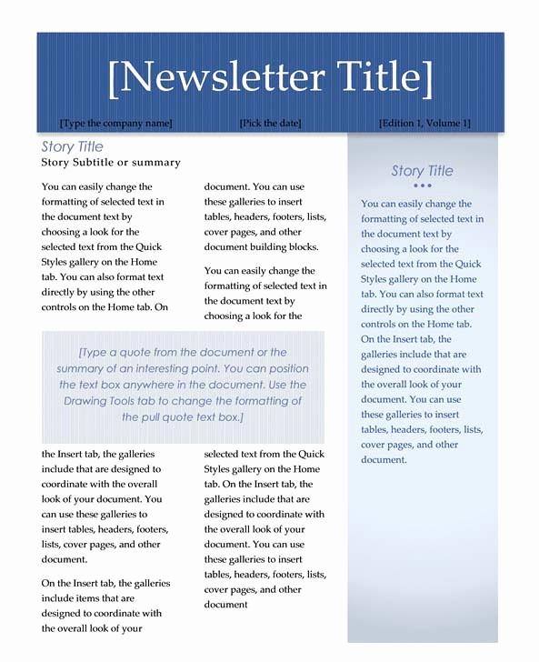 Microsoft Word Newsletter Templates Free Luxury Microsoft Word Newsletter Templates