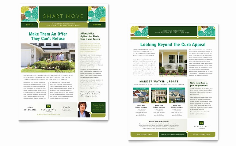 Microsoft Word Newsletter Templates Free Luxury Real Estate Newsletter Template Word & Publisher