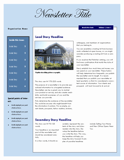 Microsoft Word Newsletter Templates Free Unique Free Newsletter Template – Microsoft Word Newsletter