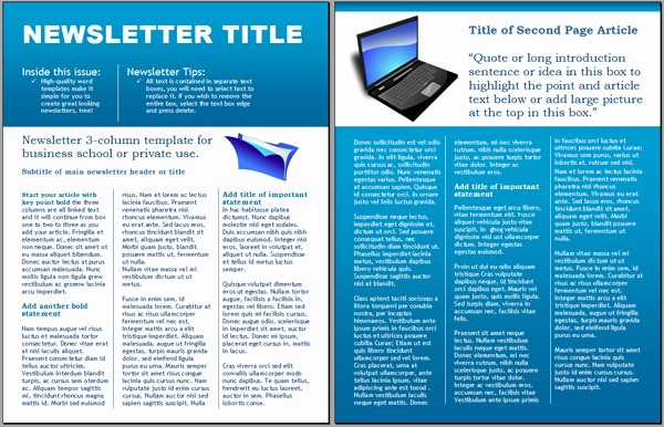 Microsoft Word Newsletter Templates Free Unique Worddraw Technology Business Newsletter Template for