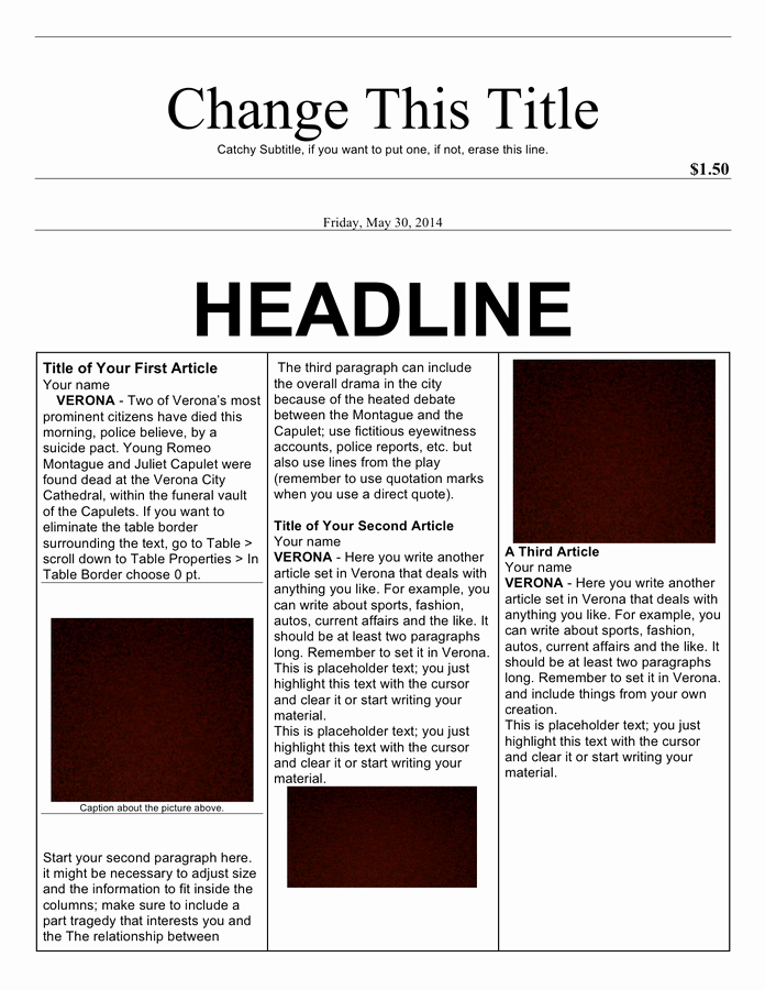 Microsoft Word Newspaper Article Template Beautiful Newspaper Article Template In Word and Pdf formats