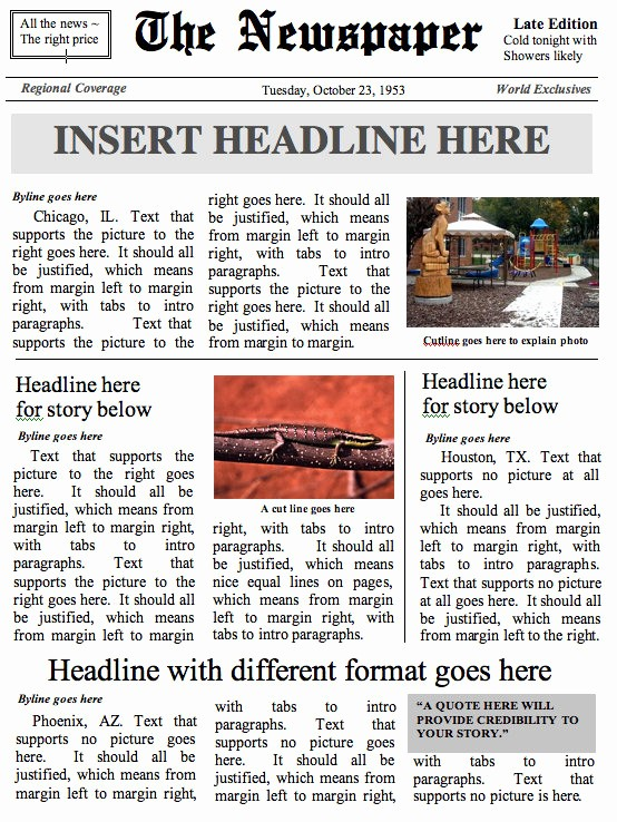 Microsoft Word Newspaper Article Template Best Of Front Page Journal Modèle Document Ms Word