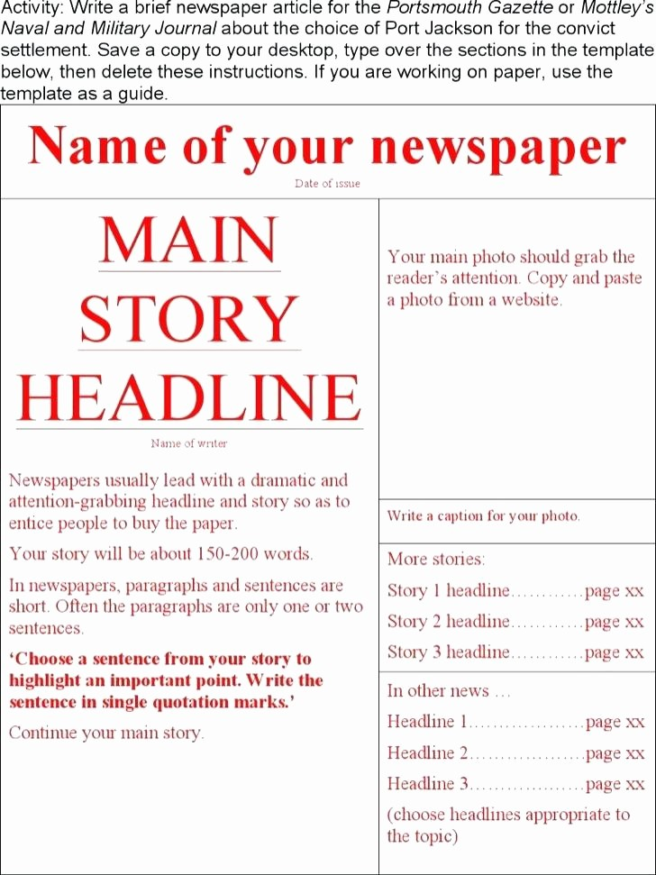 Microsoft Word Newspaper Article Template Lovely 4 Column Inside Page Newspaper Article Layout Microsoft