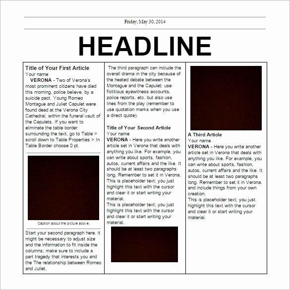 Microsoft Word Newspaper Article Template Luxury Newspaper Feature Article Template