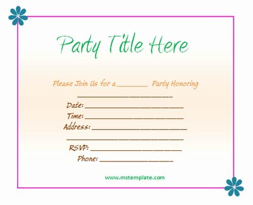 Microsoft Word Party Invitation Templates Beautiful Free Party Invitation Templates