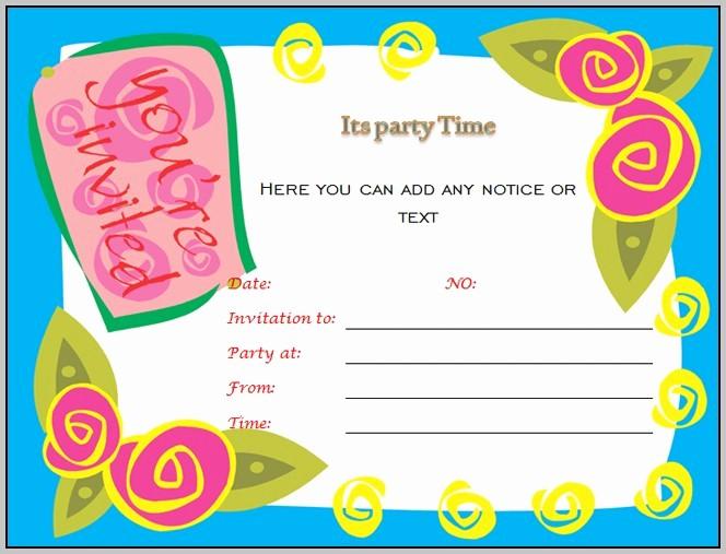 Microsoft Word Party Invitation Templates Luxury Birthday Invitation Templates for Microsoft Word