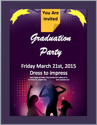 Microsoft Word Party Invitation Templates Unique Graduation Party Invitation Flyer Template – Microsoft