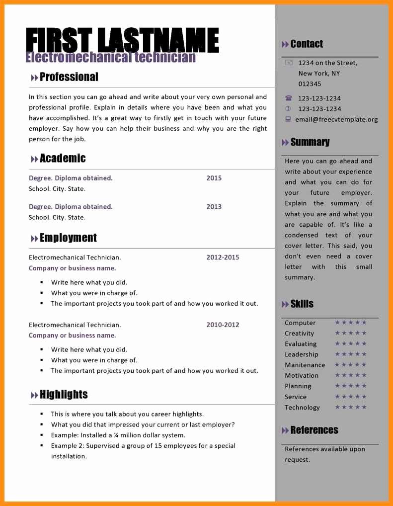 Microsoft Word Professional Resume Template Inspirational 8 Free Cv Template Microsoft Word