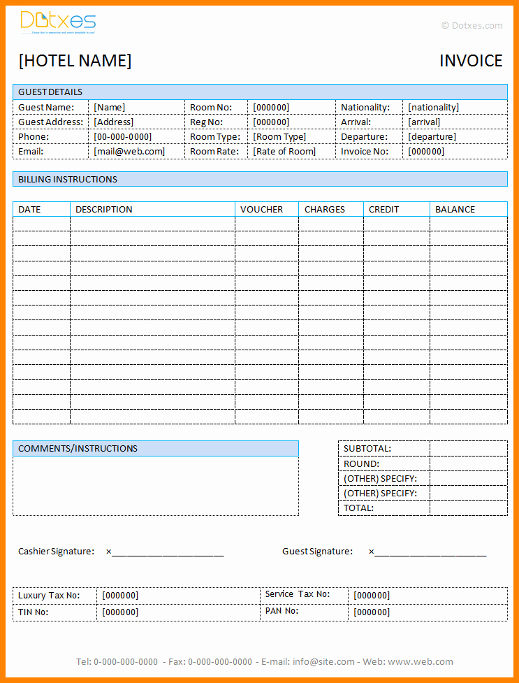 Microsoft Word Receipt Template Free Unique 8 Hotel Bill Sample format In Word