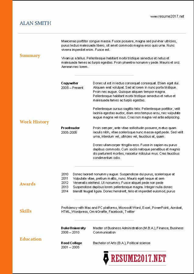 Microsoft Word Resume Template 2017 Awesome Free Resume Templates 2017
