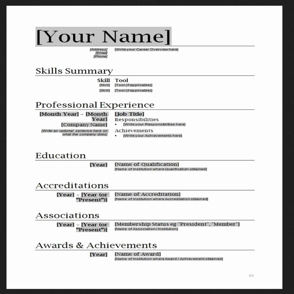 Microsoft Word Resume Template 2017 Elegant Free Resume Templates Word
