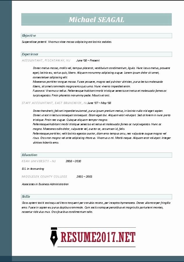 Microsoft Word Resume Template 2017 Elegant Resume Template Microsoft Word 2017