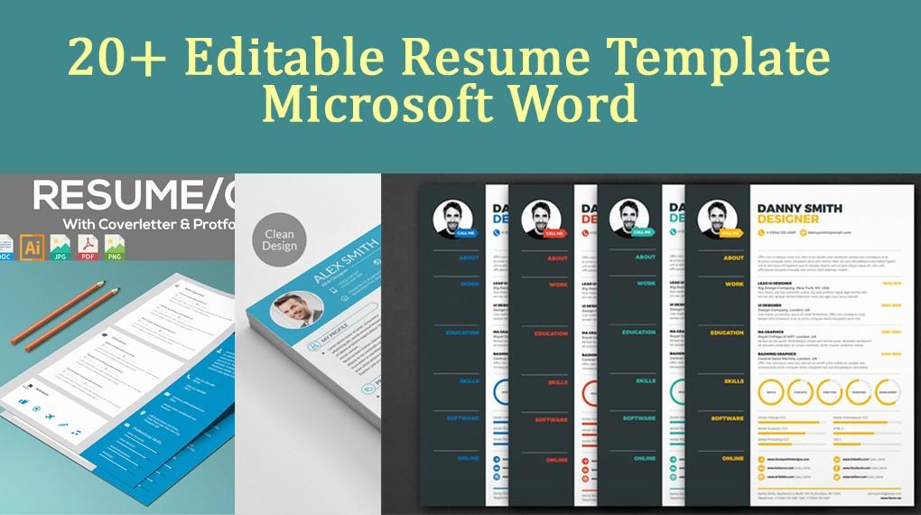 Microsoft Word Resume Template 2017 Fresh 20 Editable Resume Template Microsoft Word Download now