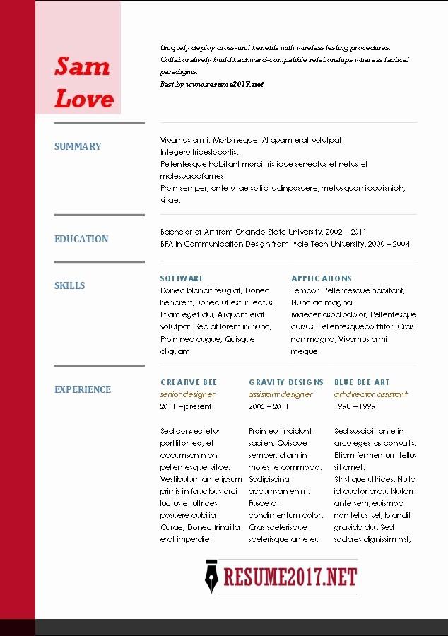 Microsoft Word Resume Template 2017 New Resume Template Microsoft Word 2017