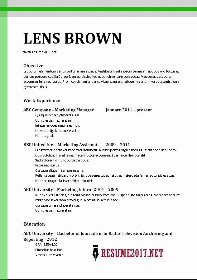 Microsoft Word Resume Template 2017 New Template for Resume 2017